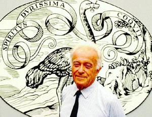 Un Editore Puro: Giulio Einaudi-davanti al logo con lo struzzo
